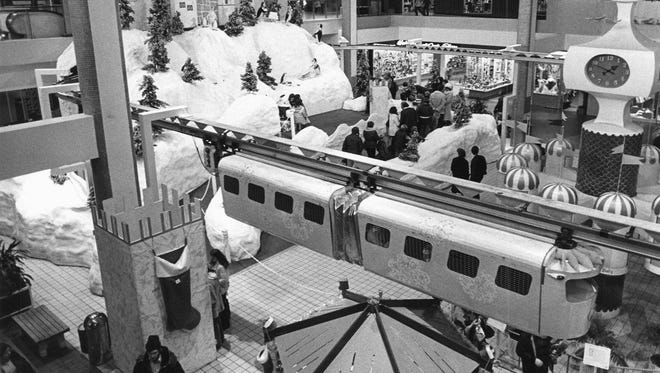 Christmas in Midtown Plaza, shown here in 1977, featured Magic Mountain, Santa Claus and the monorail during the holidays for many years.