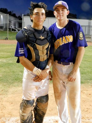 Pitcher Jobee Boone and catcher Kohl Savage collaborated on the 4-1 Indians' championship victory on Thursday night. Boone didn't walk a batter and allowed seven hits. Bobby Ardoin/Special to the Daily World