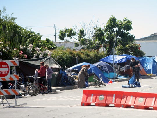 Homeless camps have returned to Soledad Street in Chinatown