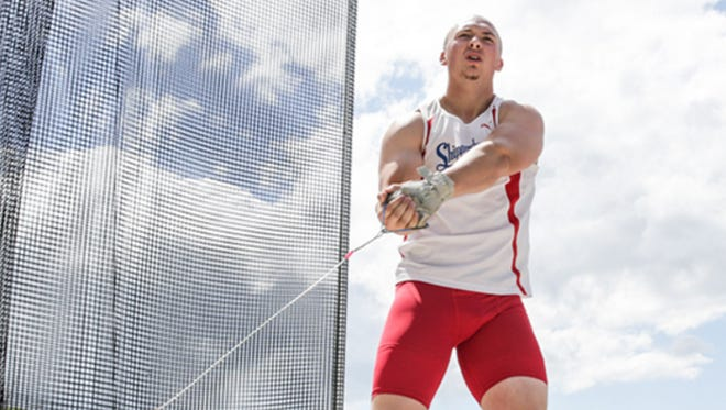 Shippensburg's Caleb Bartlett placed 10th in the hammer throw during the first day of the NCAA Division II Track & Field Championships.