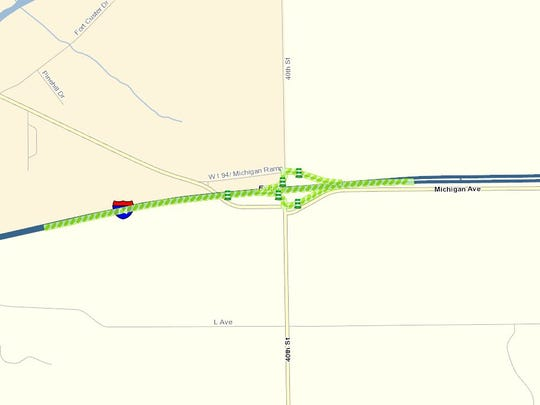 A screenshot of the Michigan Department of Transportation's Mi Drive interactive map showing planned construction at I-94's Exit 88.