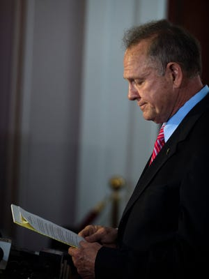 Suspended Chief Justice Roy Moore speaks during a press conference held on Wednesday, April 19, 2017, at the Alabama Capitol in Montgomery, Ala.
