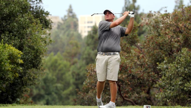 Braden Thornberry drives on the third tee in the second round of the USGA U.S. Amateur golf championship at Bel Air Country Club in Los Angeles Tuesday, Aug. 15, 2017. (AP Photo/Reed Saxon)