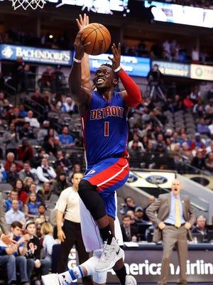 Dec 14, 2016; Dallas, TX, USA; Pistons guard Reggie Jackson shoots during the second half against the Dallas Mavericks at American Airlines Center.