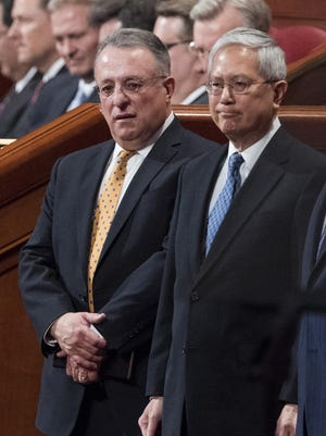 Ulisses Soares, left, of Brazil and Gerrit W. Gong, who is Chinese-American, join a panel called the Quorum of the Twelve Apostles.