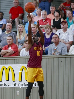Warren Central's Dean Tate (10) shoots the ball during the High School Basketball Hoosiers Reunion Classic at Hoosier Gym in Knightown, Indiana on Jun 1, 2018. (Michael Hickey for The Star)