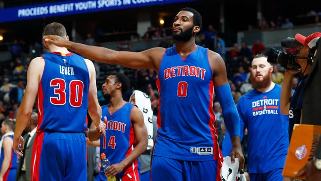 Detroit Pistons center Andre Drummond congratulates teammates during a game against the Denver Nuggets on Saturday, Nov. 12, 2016, in Denver.