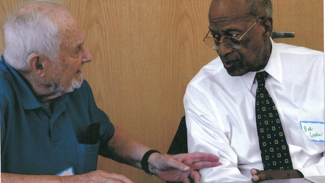 John Duley, left, and Dr. Robert Green. The longtime friends worked together in Mississippi and at Selma, Ala. for civil rights causes.