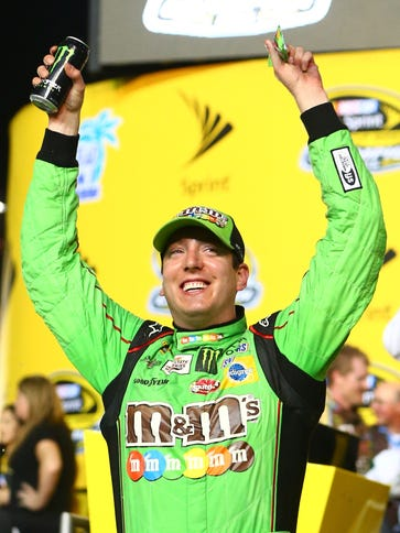 A prime time audience watched Kyle Busch win his first
