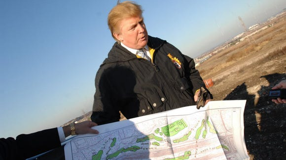 Real estate developer Donald Trump at the Meadowlands EnCap golf and hoiusing project site in 2008.
