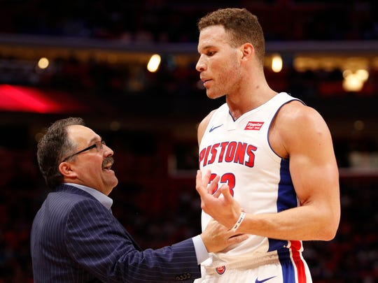 Feb 28, 2018; Detroit, MI, USA; Pistons coach Stan Van Gundy talks with forward Blake Griffin during the third quarter against the Bucks at Little Caesars Arena.