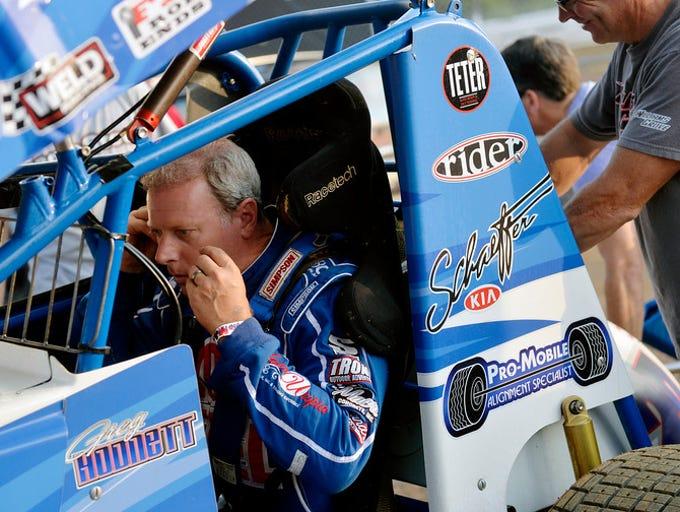 """""""Pennsylvania Posse driver Greg Hodnett prepares to"""