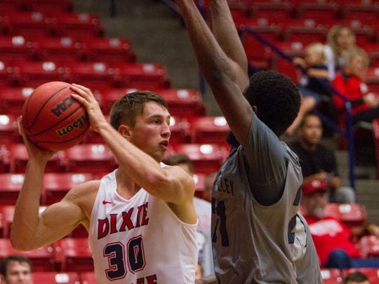 Dixie State basketball forward Dub Price during the exhibition game against Antelope Valley Pioneers Saturday, Oct. 29, 2016.