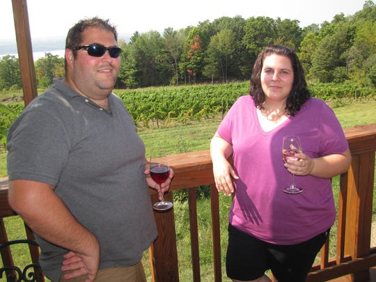 Josh Klein and Krystal Klass, both of Buffalo, were among a group of six who stopped Sept. 6 for wine tasting at Silver Thread Winery in Lodi on Seneca Lake.