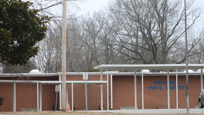 Approximately 95 percent of  Whitehall Pre-Kindergarten Center's roof was damaged in a hailstorm Dec. 28. The following week, rains caused water damage to every classroom in the building, also revealing the hail damage.