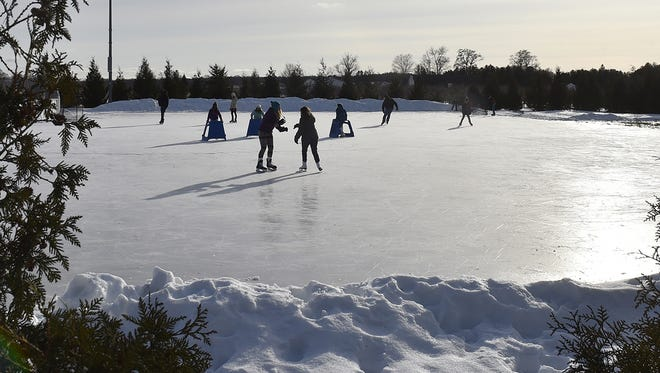 An ice skating rink in Door County.