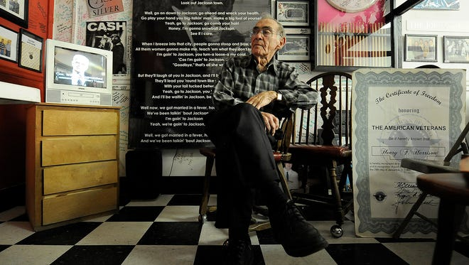 """Henry Harrison plays a commercial for the 'Freedom Train"""" tour at the International Rock-A-Billy Hall of Fame in Jackson, Tenn., on Monday, Nov. 21, 2016."""