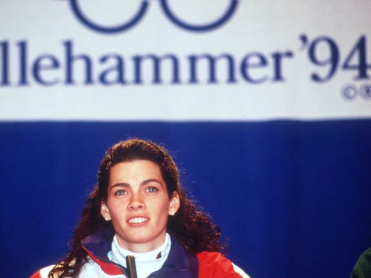 FEB 1994:  NANCY KERRIGAN OF THE UNITED STATES ATTENDS A PRESS CONFERENCE BEFORE THE START OF THE WINTER OLYMPICS IN LILLEHAMMER, NORWAY. Mandatory Credit: Allsport UK/ALLSPORT