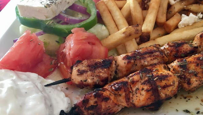 Chicken souvlaki, Greek fries and a Greek salad from Molon Labe Souvlaki in Fort Myers.