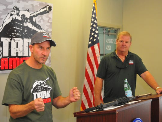 Tank America co-owners Scott Benjamin (left) and Troy Lotane address the media during a Friday press conference.