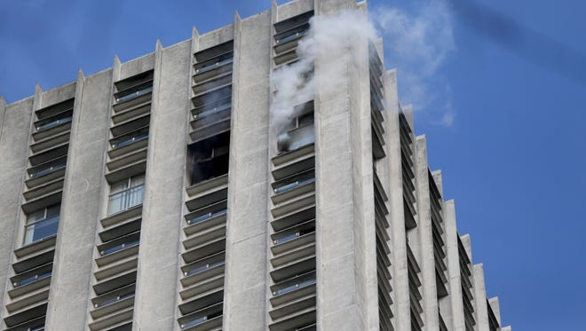Memphis Fire Department battles a fire on the 34th floor of 100 North Main.