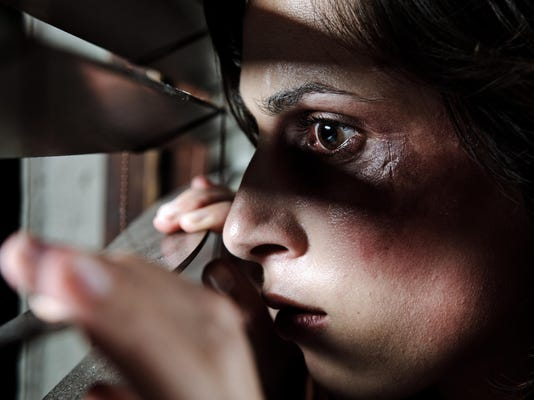 Is he home? ; domestic abuse concept