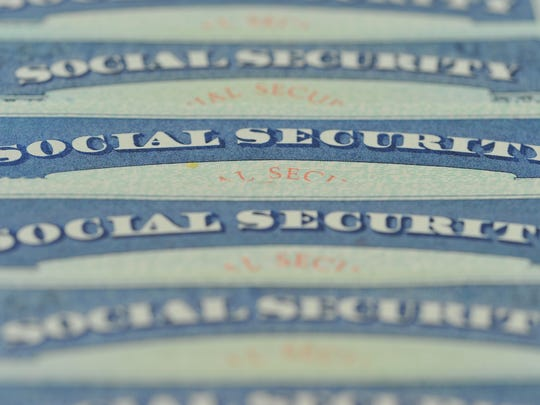 Row of Social Security cards.