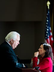 Jane Timken, Ohio Republican Party chair,  talks to a member of the state GOP's central committee after a meeting in Columbus in February.