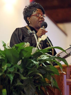 Guest Speaker Paster Jairite Anderson Cole speaks during the Nyack NAACP interfaith Martin Luther King Day service at the Pilgrim Baptist Church in Nyack on Jan. 16,  2017.