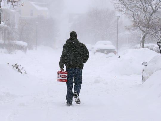 Andrew Jones makes his way on to a snowbound Vassar