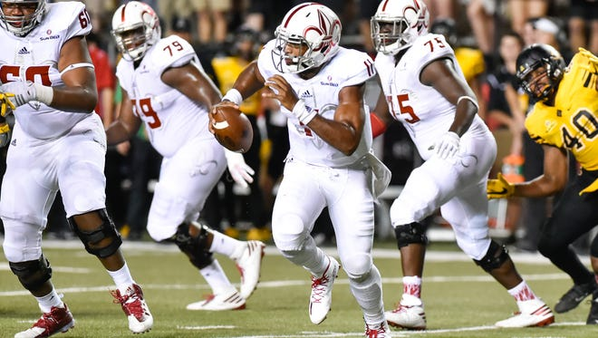 UL quarterback Anthony scrambles out of the pocket during Wednesday night's 24-0 loss to Appalachian State.