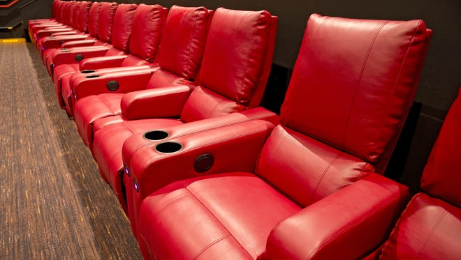 The fully renovated AMC Newport on the Levee 20 movie theater will have its official reopening Wednesday, Nov. 22, 2017, featuring recliner seating, a Dolby cinema, new food and drink offerings, and a fully stocked bar. The extra-wide cushioned recliner seating is a main feature of the renovated theaters.
