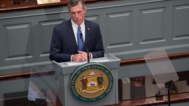 Governor John Carney gives his State of the State Address in the House Chambers.