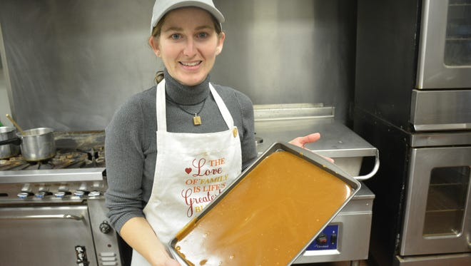 Jennifer Graefe prepares to bake Love Your More Toffee.