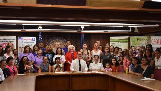 """Lt. Gov. Ray Tenorio signed a proclamation for Guam Breastfeeding Awareness Month at the Adelup large conference room with a room full of supporters on Aug. 4, 2017. The 2017 theme is """"Sustaining Breastfeeding Together"""" which aims to empower and support all women, working in both the private and public sectors in sustaining breastfeeding."""