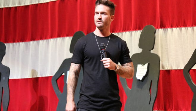 Tony Hoffman, a former BMX Elite Pro whose drug addition landed him in prison before turning his life around, now travels the country to share his experiences with students. He spoke to Ottawa County high school students in September.