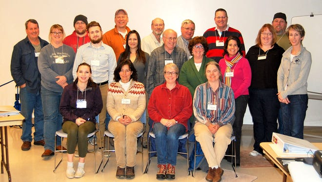 The 2016 Master Watershed Steward Class is shown here. Pictured in the front row are: Hailey Walsh, Ann Tweardy, Wendy Seifert, and Tina Gleim. Pictured in the second row: Lori Long, Austin Phillips, Janet Rivers, Tom Simmons, Deb Kronsteiner, Kelly Arcieri, Holly Morris, and Jodi Sulpizio (coordinator). Pictured in the third row are: Dan Long, Michael Coxe, John Schleicher, Stephen Lentz, Duane Hyson, Zane Williams and Larry Morris.