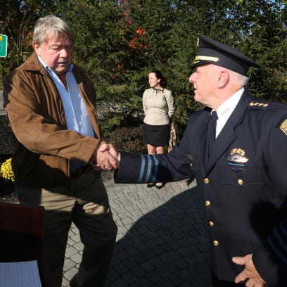 Brian Lennon, left, greets Rockland County Undersheriff