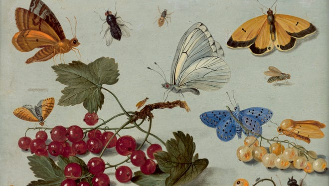 """This undated photo provided by the New York Botanical Garden shows Jan van Kessel the Elder's """"Still life study of plants, insects, arachnids, mollusks, and reptiles,"""" 1653-58, Oil on copper. The piece is part of what is being called a sort of coming out party for Rachel """"Bunny"""" Mellon's enormous art collection. More than 50 rare masterpieces from her collection, most never before shown in public, are now on view in """"Redouté to Warhol: Bunny Mellon's Botanical Art,"""" at the New York Botanical Garden. The show will remain on view through Feb. 12, 2017."""