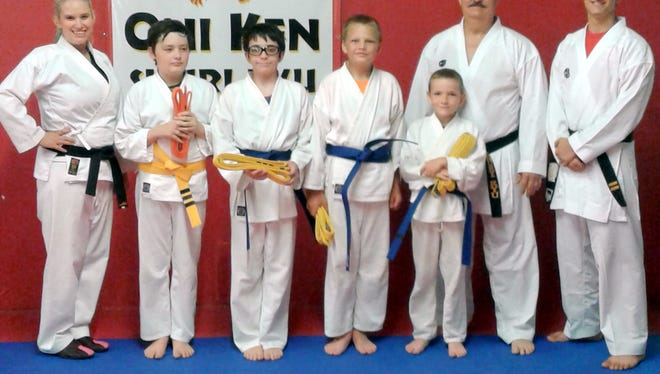 From left, are Sensei Chelsea Been, Tyler Peterson, Seferino Hughes, Isaac Gonzales, Owen Chitwood, Sensei Trenty Petty and Sensei Chad Petty.