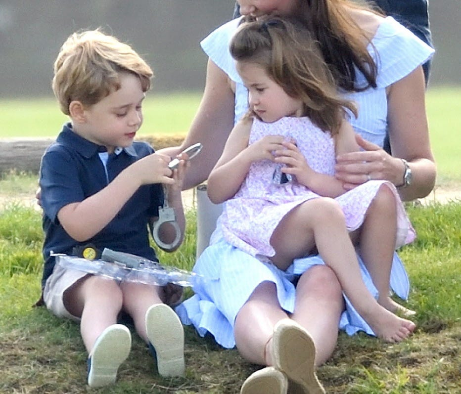 The shoes were quickly shed as Prince George and Princess Charlotte romped at their dad's polo match.