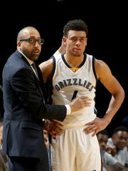Memphis Grizzlies head coach David Fizdale talks with rookie guard Wade Baldwin during a preseason game at FedExForum.
