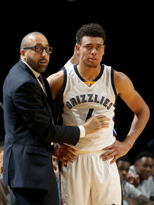 Memphis Grizzlies head coach David Fizdale talks with rookie guard Wade Baldwin during a preseason game at FedExForum.