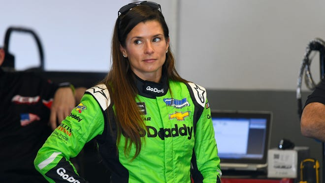 Feb 16, 2018; Daytona Beach, FL, USA; NASCAR Cup Series driver Danica Patrick (7) during practice for the Daytona 500 at Daytona International Speedway. Mandatory Credit: Mike DiNovo-USA TODAY Sports