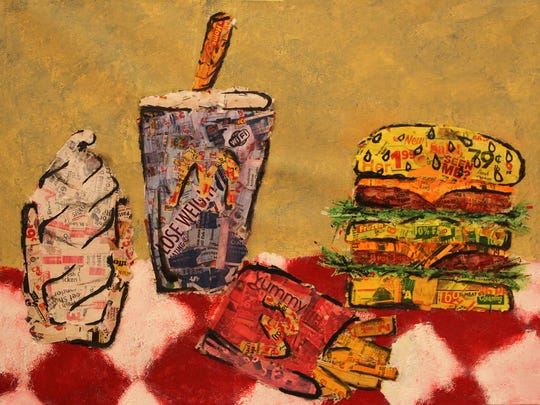 """""""Combo Meal,"""" a mixed media oil painting by Carley Hall, is one of many pieces to be displayed at the """"Visual Arts Student Exhibition"""" at the MCCC Gallery April 2 to May 3."""