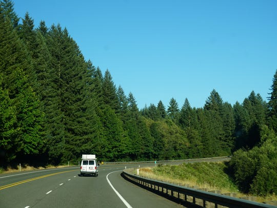 Traffic is light traveling east on Highway 22 on Thursday,