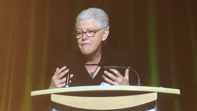 Former EPA chief Gina McCarthy speaks at Colorado State University on Feb. 28.