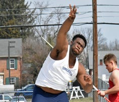 Chambersburg's Myles Braxton unleashes the shot put at an invitational earlier this season. Braxton placed second in the shot at the Stan Morgan Invitational on Saturday.