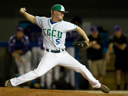 FGCU's Brady Anderson pitches against Lipscomb on Thursday at Swanson Stadium.