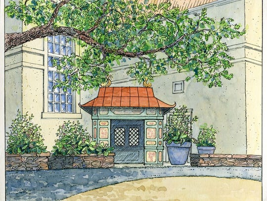"""An artist rendering of a Chinese pavilion will be among the pieces on show in """"Follies: Architectural Whimsy in the Garden,"""" which opens April 1."""